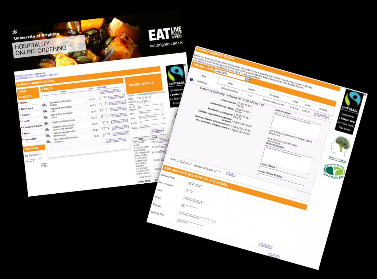 Online order screens